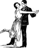 Vintage dancing couple. Vector image of the vintage dancing couple stock photography