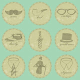 Vintage dandy icons Stock Photography