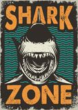 Vintage dangerous zone for surfing concept. With angry shark on sea waves background vector illustration stock illustration