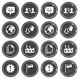 Web navigation icons on retro labels set Stock Photos
