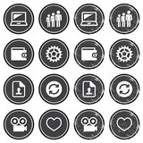Web navigation icons on retro labels set. Vintage dark badges - internet, web page icons Stock Images