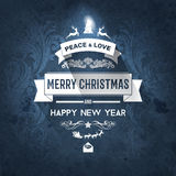 Vintage dark blue trendy Merry Christmas card and New Year wish greeting. Vector illustration with white badge christmas tree with shiny star on top for flyer Royalty Free Stock Image