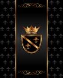 Vintage dark golden card with heraldic elements Stock Photography