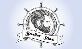 Vintage de barbe d'homme de Barber Shop Logo rétro Images stock