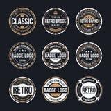 Vintage de cercle et rétro collection de conception d'insigne illustration de vecteur