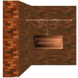 Vintage de cuivre de mur de briques d'enseigne Image libre de droits