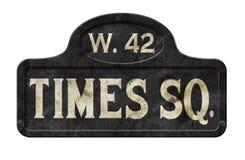 Vintage de la antigüedad de la placa de calle del Times Square de New York City viejo imagen de archivo