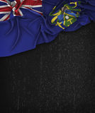 Vintage de la bandera de las islas de Pitcairn en una pizarra del negro del Grunge Foto de archivo