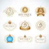Vintage de luxe de boutique Calibres de logo de crêtes réglés illustration libre de droits
