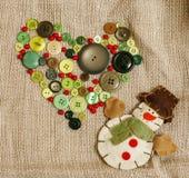 Vintage de madeira do cartão de Natal com presentes feitos a mão Imagem de Stock