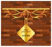 Vintage de mur de briques d'or d'enseigne Images stock