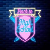Vintage de nouveau à l'emblème d'école Image libre de droits