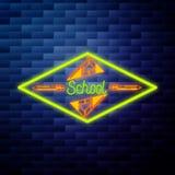 Vintage de nouveau à l'emblème d'école Image stock