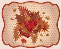 Vintage de rubíes del corazón de la tarjeta del otoño, vector Foto de archivo libre de regalías