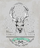 Vintage Dear logo. Design for t-shirt Royalty Free Stock Images