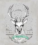 Vintage Dear logo. Design for t-shirt Stock Photos