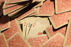 Vintage deck of poker playing cards Royalty Free Stock Photo