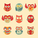 Vintage Decor Owl Set Stock Photography