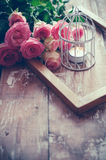 Vintage decor with roses Royalty Free Stock Photos