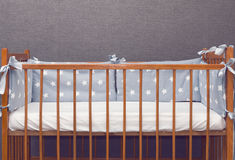 Vintage decorated baby cot Royalty Free Stock Image