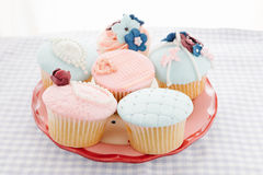Vintage decorated cupcakes Stock Image