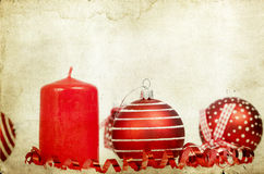 Vintage decoration with red Christmas balls Royalty Free Stock Images