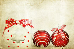 Vintage decoration with red Christmas balls Stock Images