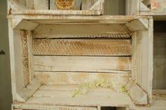 Vintage decoration wood white shelf box. Old stock photo
