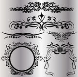 Vintage Decorations Elements Flourishes Calligraphic Ornaments and Frames Black background Royalty Free Stock Image