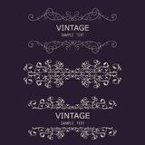 Vintage Decorations Elements. Flourishes Calligraphic Ornaments and Frames. Retro Style Design Collection for Invitations, Banners. Posters, Placards, Badges Stock Photography