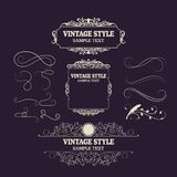 Vintage Decorations Elements and Frames. Retro Style Design New Collection for Invitations, Banners, Posters, Placards, Badges.  Stock Illustration