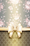 Vintage decorative background with flowers and elegant bow. Stock Photography