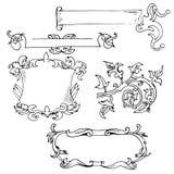 Vintage decorative borders frames. Hand drawn vector design elements vector illustration