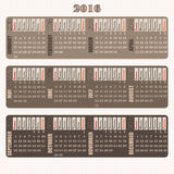 Vintage decorative Calendar 2016 designed with full name of days of the week, vertical Royalty Free Stock Photo