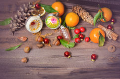 Vintage decorative Christmas fruits tangerines Royalty Free Stock Photography