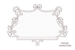 Vintage decorative colligraphic frame of rectangular shape, the ornament is executed in Victorian style. For design and printing. Stock Photography