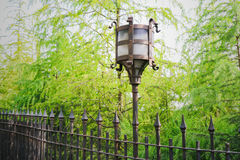 Vintage decorative electric street lamp behind iron fence in nat Stock Image