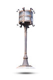 Vintage decorative electric street lamp isolated on white background. stock photo