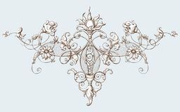 Vintage decorative element engraving with Baroque ornament pattern vector illustration