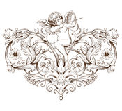 Vintage decorative element engraving with Baroque ornament pattern and cupid. Hand drawn vector illustration Royalty Free Stock Photo