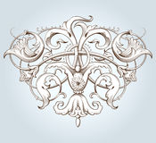 Vintage decorative element engraving with Baroque ornament pattern stock illustration