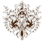 Vintage decorative element engraving with Baroque ornament pattern. Hand drawn vector illustration Stock Images