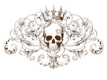Vintage decorative element engraving with Baroque ornament pattern and skull stock illustration