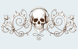 Vintage decorative element engraving with Baroque ornament pattern and skull with headphones vector illustration