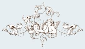 Free Vintage Decorative Element Engraving With Baroque Ornament Pattern And Cupids Royalty Free Stock Photo - 100726795