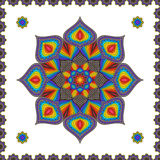 Vintage Decorative Element Motley Mandala. Bright Colorful Oriental Circular Striped Pattern Stock Photo