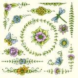 Vintage decorative elements color Stock Photos