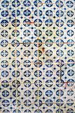 Blue tiles detail of Portuguese glazed. Vintage decorative elements. Moroccan motifs. Abstract colorful doodle pattern in mosaic style. Selective focus royalty free stock photography