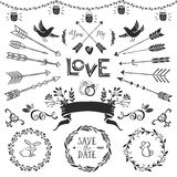 Vintage Decorative Elements With Lettering. Hand Drawn Vector Stock Photography