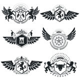 Vintage decorative emblems compositions, heraldic vectors. Class. Y high quality symbolic illustrations collection, vector set Stock Photo